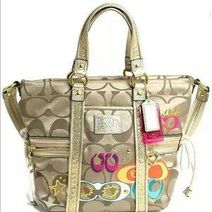 Coach Daisy Pop C Tote Bag / Purse - Gold, Glitter